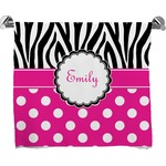 Zebra Print & Polka Dots Full Print Bath Towel (Personalized)