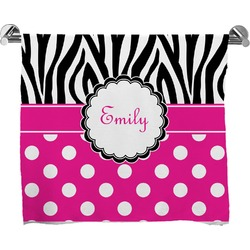 Zebra Print & Polka Dots Bath Towel (Personalized)