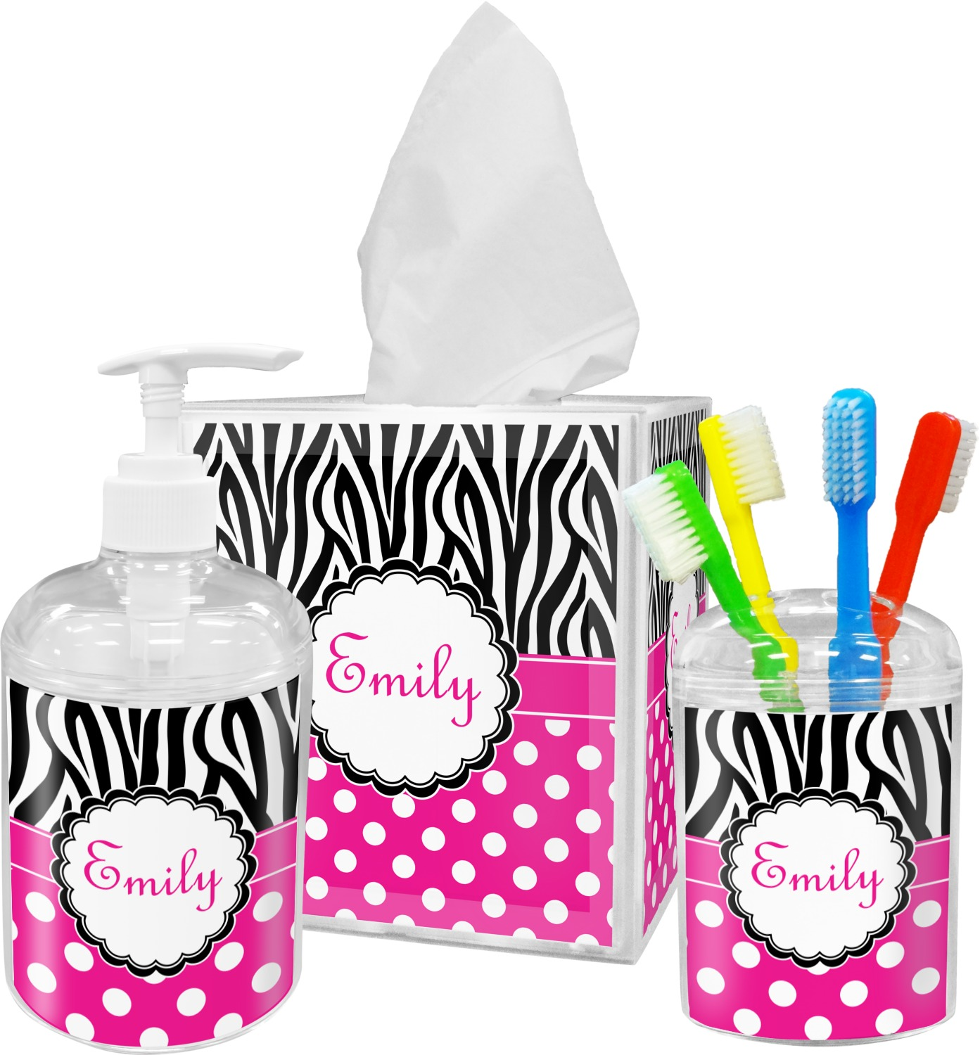 Zebra print polka dots toothbrush holder personalized for Zebra bathroom accessories