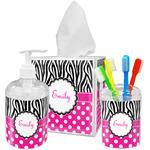 Zebra Print & Polka Dots Bathroom Accessories Set (Personalized)