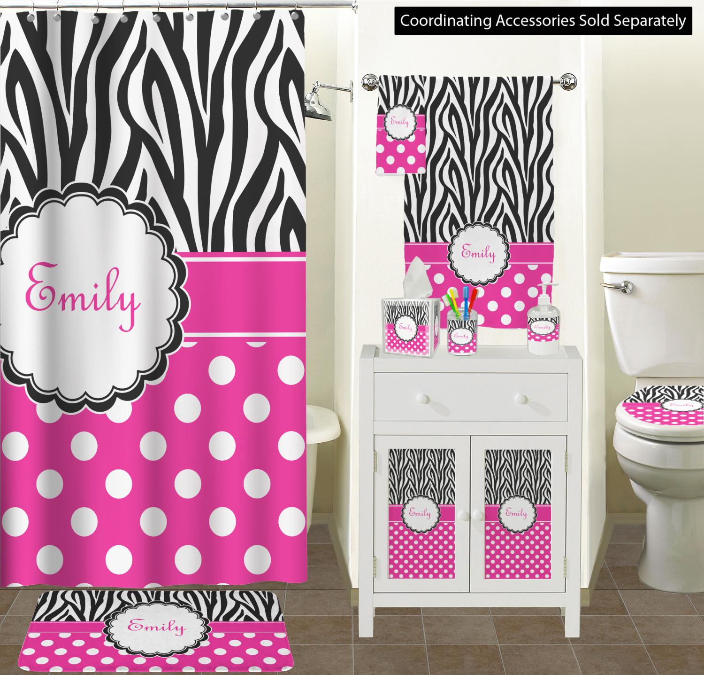 Zebra Print Polka Dots Bathroom Scene