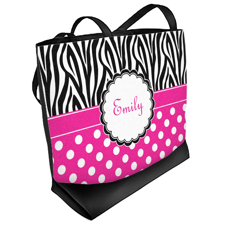 dc5ad84f3 Zebra Print & Polka Dots Beach Tote Bag (Personalized) - YouCustomizeIt
