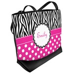Zebra Print & Polka Dots Beach Tote Bag (Personalized)