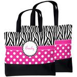 Zebra Print & Polka Dots Beach Tote Bag (Personalized)