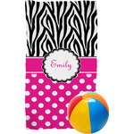 Zebra Print & Polka Dots Beach Towel (Personalized)