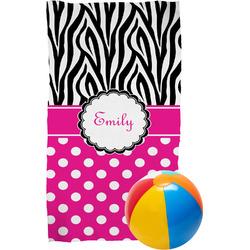 Zebra Print & Polka Dots Beach Towel (Personalized)