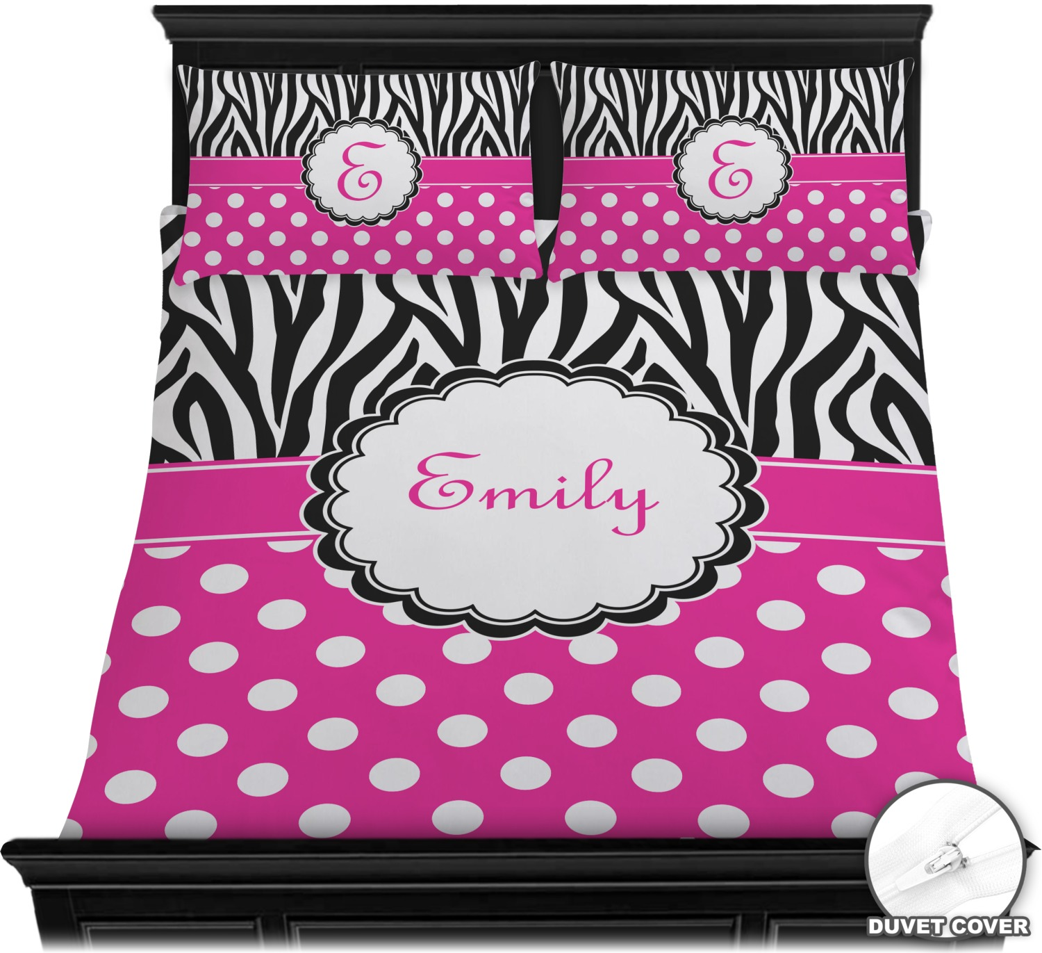 Zebra Print & Polka Dots Duvet Cover Set Personalized YouCustomizeIt