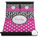 Zebra Print & Polka Dots Duvet Cover Set (Personalized)