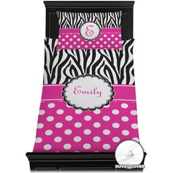 Zebra Print & Polka Dots Duvet Cover Set - Twin (Personalized)
