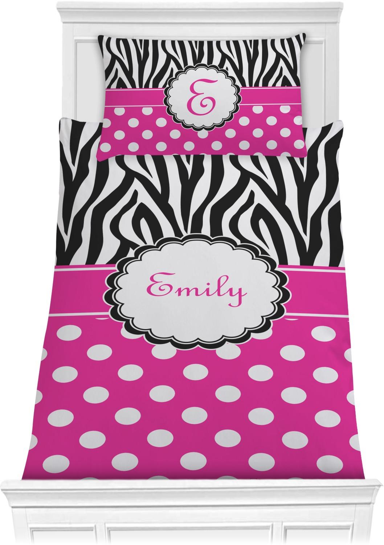zebra print polka dots comforter set personalized youcustomizeit. Black Bedroom Furniture Sets. Home Design Ideas