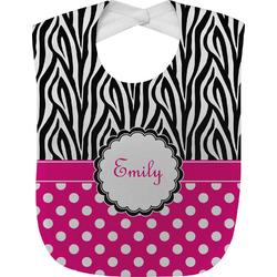 Zebra Print & Polka Dots Baby Bib (Personalized)
