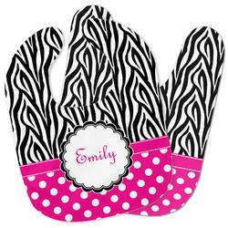 Zebra Print & Polka Dots Baby Bib w/ Name or Text