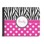 Zebra Print & Polka Dots Genuine Leather Men's Bi-fold Wallet (Personalized)