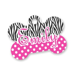 Zebra Print & Polka Dots Bone Shaped Dog Tag (Personalized)