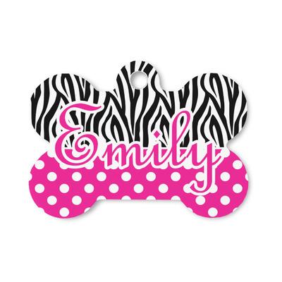 Zebra Print & Polka Dots Bone Shaped Dog Tag (Personalized)