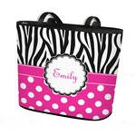 Zebra Print & Polka Dots Bucket Tote w/ Genuine Leather Trim (Personalized)