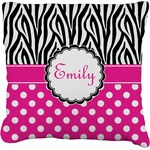 Zebra Print & Polka Dots Burlap Throw Pillow (Personalized)