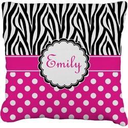 Zebra Print & Polka Dots Faux-Linen Throw Pillow (Personalized)