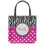 Zebra Print & Polka Dots Canvas Tote Bag (Personalized)