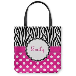 "Zebra Print & Polka Dots Canvas Tote Bag - Small - 13""x13"" (Personalized)"