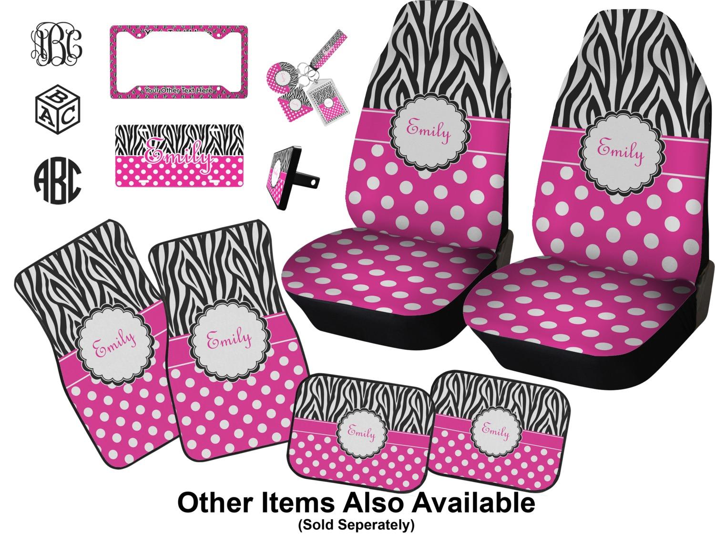 Zebra Print Polka Dots Car Accessories Set Personalized