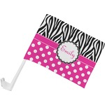 Zebra Print & Polka Dots Car Flag (Personalized)