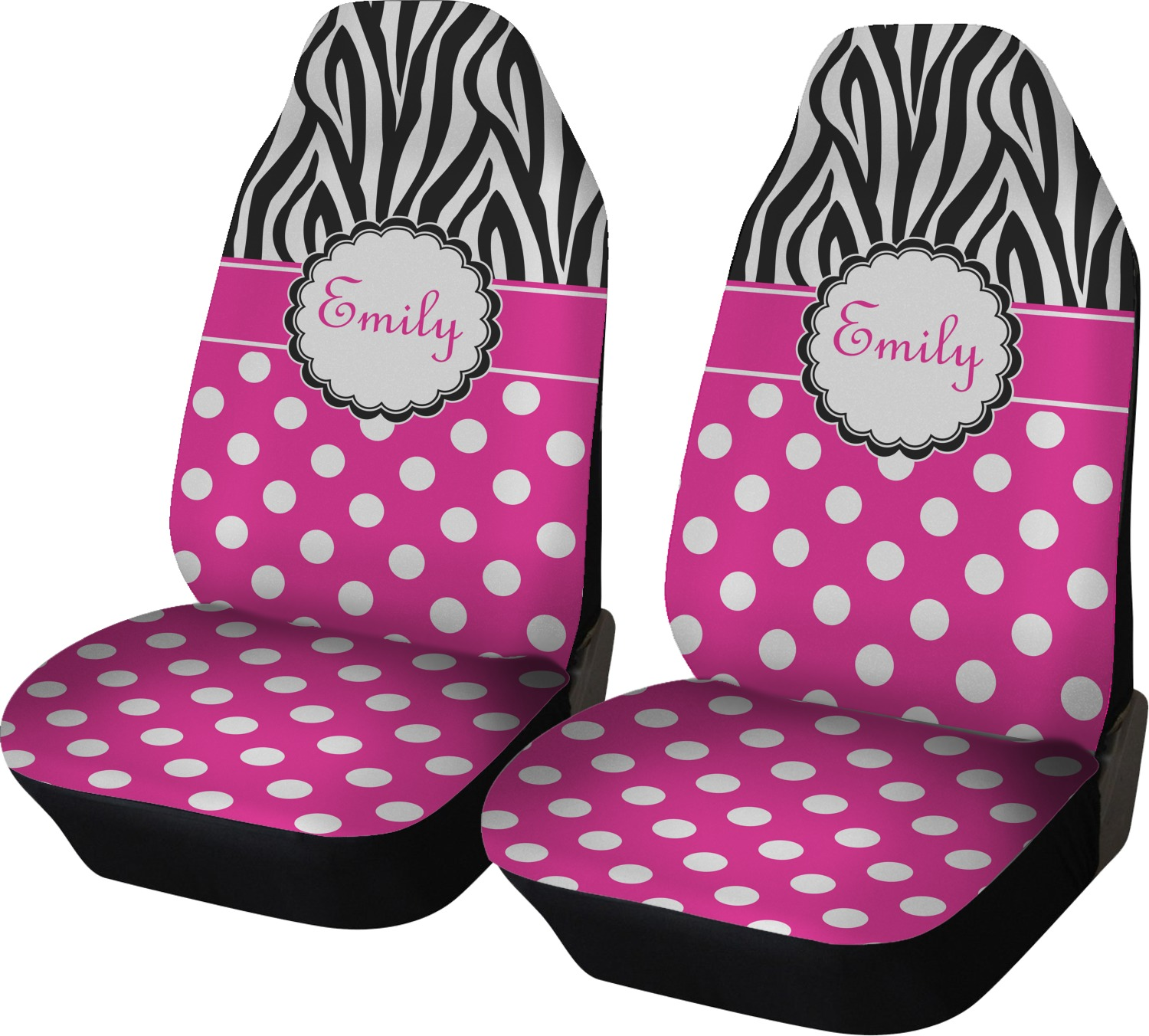 zebra print polka dots car seat covers set of two personalized rnk shops. Black Bedroom Furniture Sets. Home Design Ideas