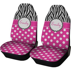 Zebra Print & Polka Dots Car Seat Covers (Set of Two) (Personalized)