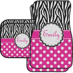 Zebra Print & Polka Dots Car Floor Mats (Personalized)