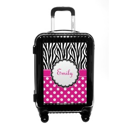 Zebra Print & Polka Dots Carry On Hard Shell Suitcase (Personalized)