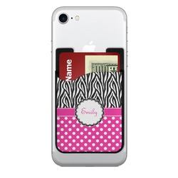 Zebra Print & Polka Dots 2-in-1 Cell Phone Credit Card Holder & Screen Cleaner (Personalized)