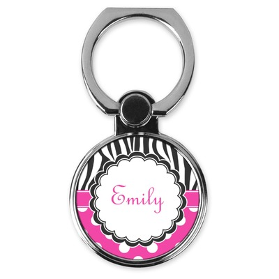 Zebra Print & Polka Dots Cell Phone Ring Stand & Holder (Personalized)