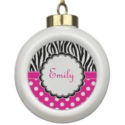 Zebra Print & Polka Dots Ceramic Ball Ornament (Personalized)
