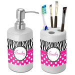 Zebra Print & Polka Dots Bathroom Accessories Set (Ceramic) (Personalized)