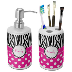 Zebra Print & Polka Dots Ceramic Bathroom Accessories Set (Personalized)