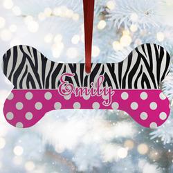 Zebra Print & Polka Dots Ceramic Dog Ornaments w/ Name or Text