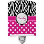 Zebra Print & Polka Dots Ceramic Night Light (Personalized)
