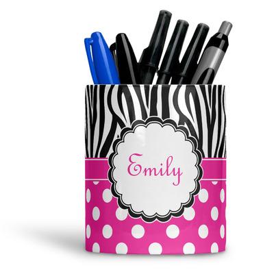 Zebra Print & Polka Dots Ceramic Pen Holder