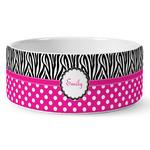 Zebra Print & Polka Dots Ceramic Pet Bowl (Personalized)