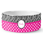 Zebra Print & Polka Dots Ceramic Dog Bowl (Personalized)