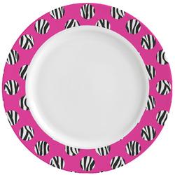 Zebra Print & Polka Dots Ceramic Dinner Plates (Set of 4) (Personalized)