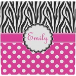 Zebra Print & Polka Dots Ceramic Tile Hot Pad (Personalized)