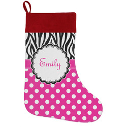 Zebra Print & Polka Dots Holiday Stocking w/ Name or Text