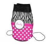 Zebra Print & Polka Dots Neoprene Drawstring Backpack (Personalized)