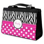 Zebra Print & Polka Dots Classic Tote Purse w/ Leather Trim (Personalized)