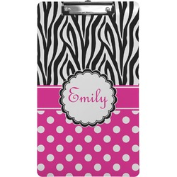 Zebra Print & Polka Dots Clipboard (Legal Size) (Personalized)