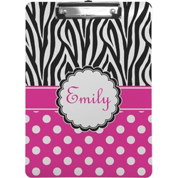 Zebra Print & Polka Dots Clipboard (Personalized)