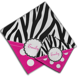 Zebra Print & Polka Dots Cloth Napkin w/ Name or Text
