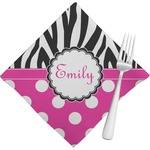 Zebra Print & Polka Dots Napkins (Set of 4) (Personalized)