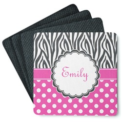 Zebra Print & Polka Dots Square Rubber Backed Coasters - Set of 4 (Personalized)